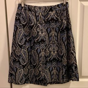 Ann Taylor Fully Lined Pleated Paisley Skirt